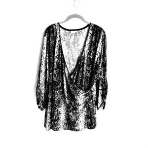 Susan Graver Sequin Black Gray Evening Top Size 3X